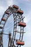 Wien Österrike JUNI 5, 2018: Berömda Ferris Wheel av Wien Prater parkerar kallade Wurstelprater royaltyfri foto