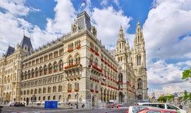 WIEN ÖSTERRIKE SEPTEMBER 10, 2015: Wien stadshus (Rathau Arkivfoto