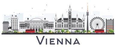 Wien Österrike stadshorisont med Gray Buildings Isolated på Whit Royaltyfri Fotografi