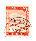 Wien. Old stamp from Austria. Cancelled in Vienna (Wien Royalty Free Stock Photo