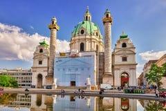 WIEN AUSTRIA-SPETEMBER 10, 2015: Charles Church (Karlskirche) Royaltyfri Fotografi