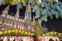 Wien Christmas market in front of the City Hall Stock Photos