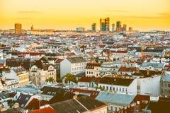 Wien cityscape i Österrike royaltyfria foton