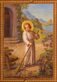 Wien - Fresko der Szene vom Leben von kleinem Jesus durch Josef Kastner 1906 - 1911 in Carmelites-Kirche Lizenzfreie Stockfotografie