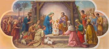 Wien - freskomålning av julkrubban av Josef Kastner det äldre från 20 cent i den Erloserkirche kyrkan royaltyfri fotografi