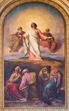 Wien - freskomålning av Moses för faraoplatsen från. cent 19. i den Altlerchenfelder kyrkan Arkivbild