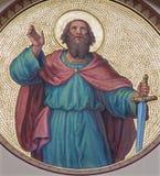 Wien - freskomålningen av St Paul som aposteln från börjar av 20 cent vid Josef Kastner från den Carmelites kyrkan royaltyfri foto