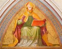 Wien - freskomålning av St Augustine från entré av klosterkyrkan i Klosterneuburg Arkivbilder