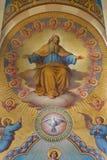 Wien - Gott der Vater Detail des großen Freskos vom Presbyterium von Carmelites-Kirche in Dobling durch Josef Lizenzfreies Stockbild