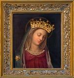 Wien - härlig målarfärg av jungfruliga Mary av den okända italienska målaren från. cent 15 - 16. i den Carmelites kyrkan i Dobling Fotografering för Bildbyråer