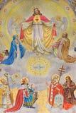 Wien - hjärta av Jesus med änglarna och beskyddare av landet som planläggs av Josef Magerle (1948) i den Erloserkirche kyrkan royaltyfria bilder
