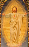"""Wien - hjärtan av Jesus målarfärg på det huvudsakliga altaret av den Sacre Coeur kyrkan av Anna Maria von Oer (1846†""""1929) Arkivfoton"""