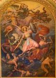 Wien - Jesus Christ. Detail des Freskos der letzten Urteilszene durch Leopold Kupelwieser ab 1860 im Kirchenschiff von Altlerchenf Lizenzfreie Stockfotografie