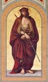 WIEN - 27. JULI: Fresko von Jesus Christ für das Pilatus im purpurroten Mantel Ecce Homo durch Carl Mayer von 19 cent Lizenzfreie Stockfotografie