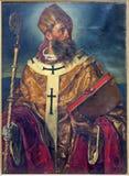 Wien - målarfärg av St. Augustinus den stora läraren av den västra kyrkan från cent för år 1875. i Augustinerkirche Fotografering för Bildbyråer