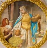 Wien - målarfärg av st. Elizabeth av Ungern från entré av den Schottenkirche kyrkan Royaltyfri Foto