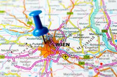 Wien on map. With push pin. Vienna Stock Image