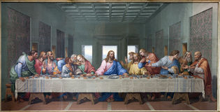 Wien - mosaik av den sist kvällsmålet av Jesus royaltyfria bilder
