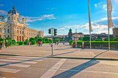 Wien museum av naturhistoria med museet av Art History arkivfoton