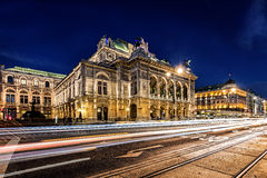 Wien opera building facade at night and traffic trails Stock Image