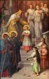 Wien - presentationen av jungfruliga Mary i templet Målarfärg från 20 cent i den kyrkliga Muttergotteskirchen Royaltyfri Foto
