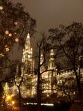 Wien Rathaus am Weihnachten Lizenzfreie Stockfotografie