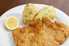 Wien-Schnitzel mit Kartoffelpürees und Zwiebel Lizenzfreie Stockfotos