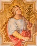 Wien - St Cecilia beskyddare av musiker av Josef Kastner det mer ung från 20 cent i den kyrkliga Muttergotteskirchen royaltyfri foto