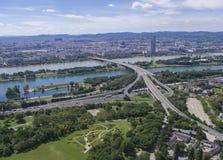 Wien stad och Danube River Royaltyfria Foton