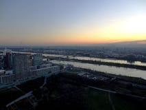 Wien stad på solnedgången, Wien, Österrike Arkivfoton
