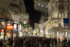 Wien-Stadtzentrum zur Weihnachtszeit (Nacht) Stockbild