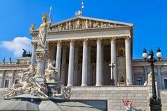 Wien - österrikisk parlamentbyggnad Arkivfoto