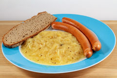 Wiener, Bread and Sauerkraut Stock Images