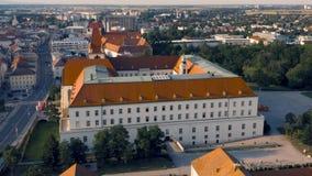 Aerial view of Burg Wiener Neustadt. Wiener Neustadt, Austria, July 2019 - Aerial view of Burg Wiener Neustadt stock footage