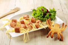 Wiener and Noodle Spider Snacks on Plate Royalty Free Stock Image