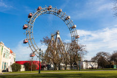 Wiener Riesenrad. Famous Ferris Wheel in Wien Stock Photo