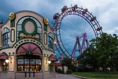 Wiener Riesenrad Ferris wheel in the Prater park, Vienna, Austria, at cloudy dusk royalty free stock photos