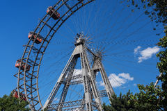 Wiener Riesenrad. Giant ferris wheel at entrance of prater park in vienna Royalty Free Stock Photos