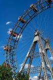Wiener Riesenrad. Giant ferris wheel at entrance of prater park in vienna Stock Photo