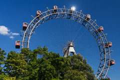 Wiener Riesenrad. Giant ferris wheel at entrance of prater park in vienna Stock Images