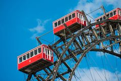 Free Wiener Riesenrad Viennese Ferris Wheel Red Cabin At The Prate Royalty Free Stock Images - 114834569