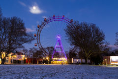 Wiener Riesenrad in the Winter. VIENNA, AUSTRIA - 21ST JANUARY 2016: A view of the Wiener Riesenrad when it is closed. Taken in the winter and snow can be seen Stock Photos