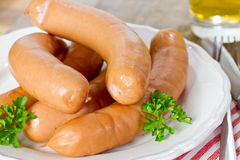 Wiener sausages. On a plate Royalty Free Stock Photo