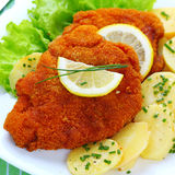 Wiener schnitzel. With potato salad Stock Photos
