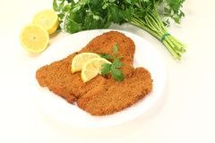 Wiener Schnitzel. Freshly roasted wiener schnitzel with lemon slices and parsley Royalty Free Stock Photography