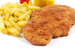 Wiener schnitzel. Selective focus on tje wiener schnitzel Royalty Free Stock Photography