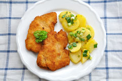 Wiener Schnitzel. With potato salad Royalty Free Stock Photography