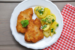 Wiener Schnitzel. With potatoe salad Stock Image