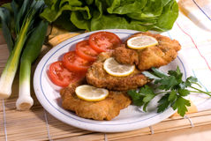 Wiener schnitzel. Served - delicious dinner and vegetable Stock Photography