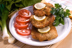 Wiener schnitzel. Served - delicious dinner and vegetable Stock Images